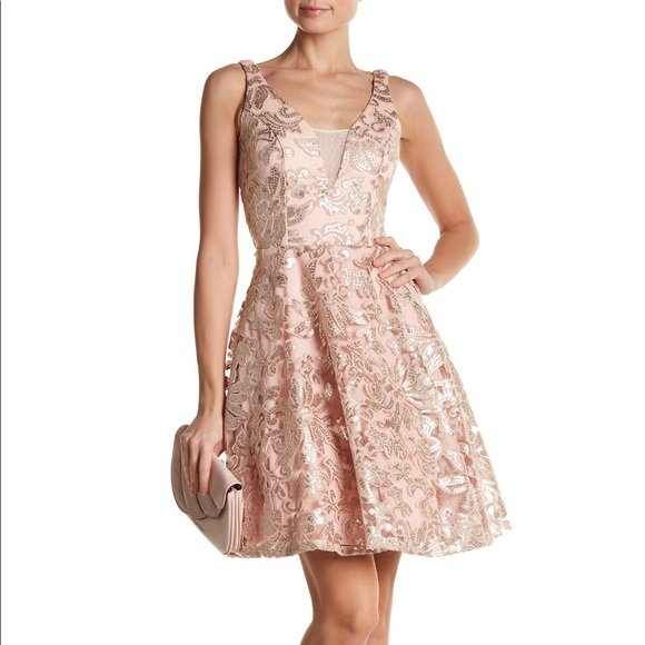 MARINA Dresses & Skirts - Rose gold Embroidered Mesh Fit & Flare Dress
